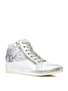 Moda in Pelle Fontro hidden wedge lace up trainers