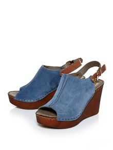Moda in Pelle Pero suede wedged sandals