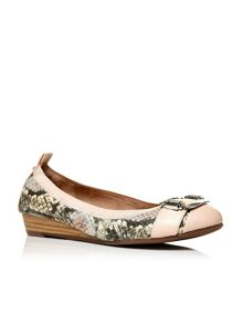 Edinas elasticated top trim ballerina shoes
