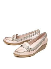 Moda in Pelle Gabbiano wedged moccasin shoes
