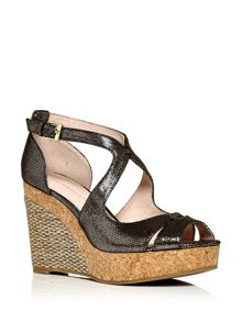 Moda in Pelle Renno contrast wedge sandals