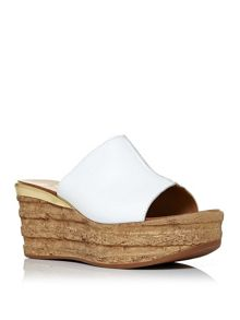 Moda in Pelle Primia wood effect wedge mules