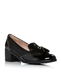 Calvetti block heel brogue loafers