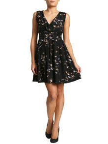 Bird Print Cross Over Dress