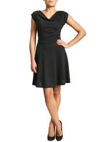 Cowl Neck Skater Dress With Button
