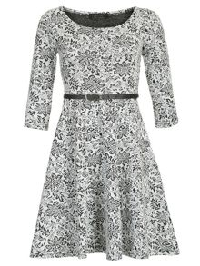 Pussycat Floral Monochrome Skater Dress
