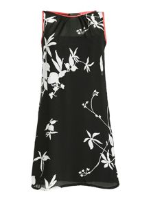 Leaf print chiffon shift dress