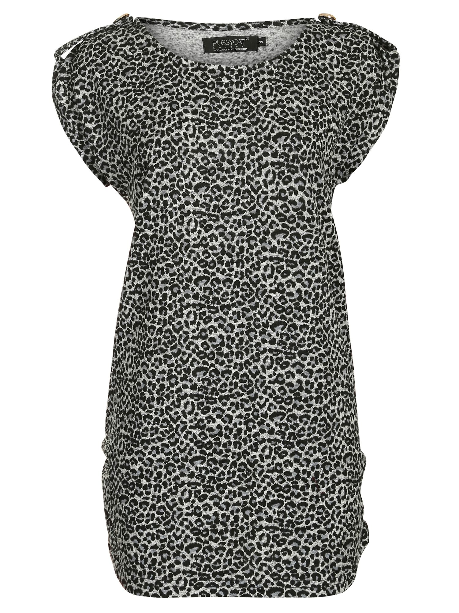 Pussycat Animal Print Dress, Grey