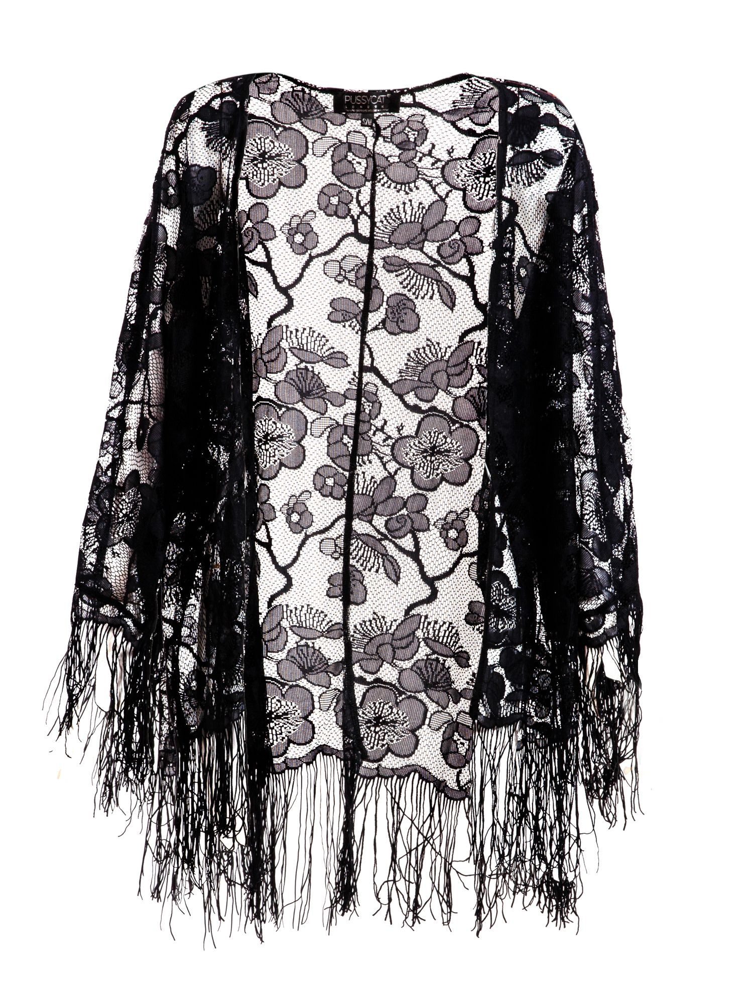 Pussycat Lace Kimono with fringe $19.20 AT vintagedancer.com