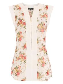 Rose print sleeveless top