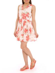 Pussycat Rose print strappy dress