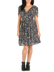 Pussycat Floral crossover neck dress