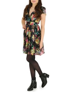 Floral print crossover neck dress