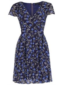 Pussycat Floral print crossover neck dress