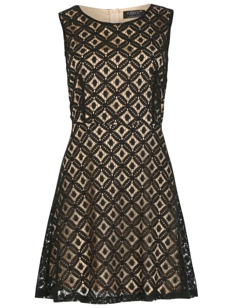 Pussycat Sleeveless two tone lace skater dress