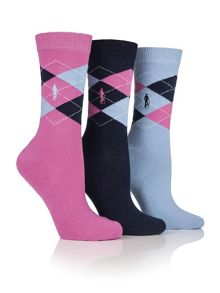 Glenmuir 3 pack argyle socks