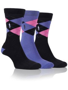 Glenmuir 3 Pair Argyle Jacquard Sock Pack