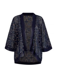 Mela Loves London Navy and Gold Lace Kimono