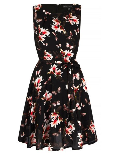 Mela London Floral and Butterfly Print Dress