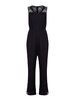 Lace Trim Flare Jumpsuit