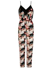Mela Loves London Strappy Floral Print Jumpsuit