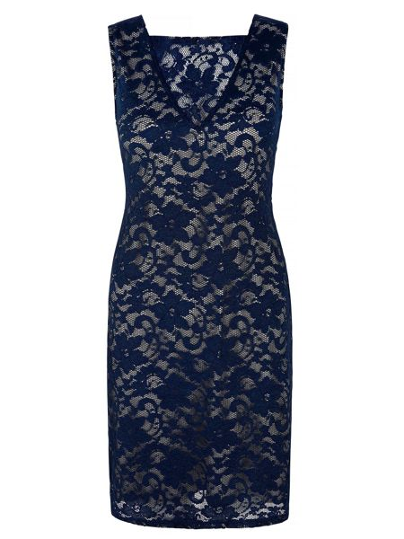 Mela London Lace Contrast Cowl Back Dress