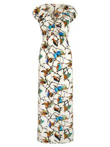 Mela London Bird and Branch Print Peasant Maxi Dress