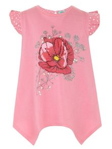 Girl`s poppy print top