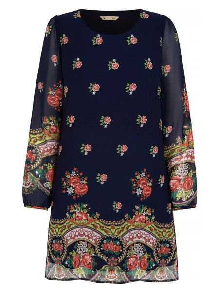 Yumi Decorative Rose Print Tunic Dress
