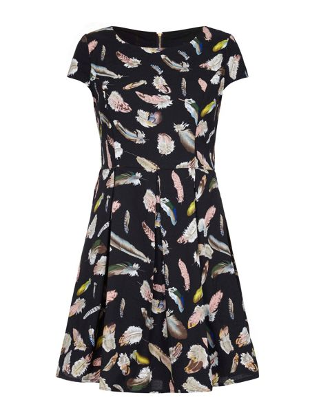 Mela London Feather Print Skater Dress