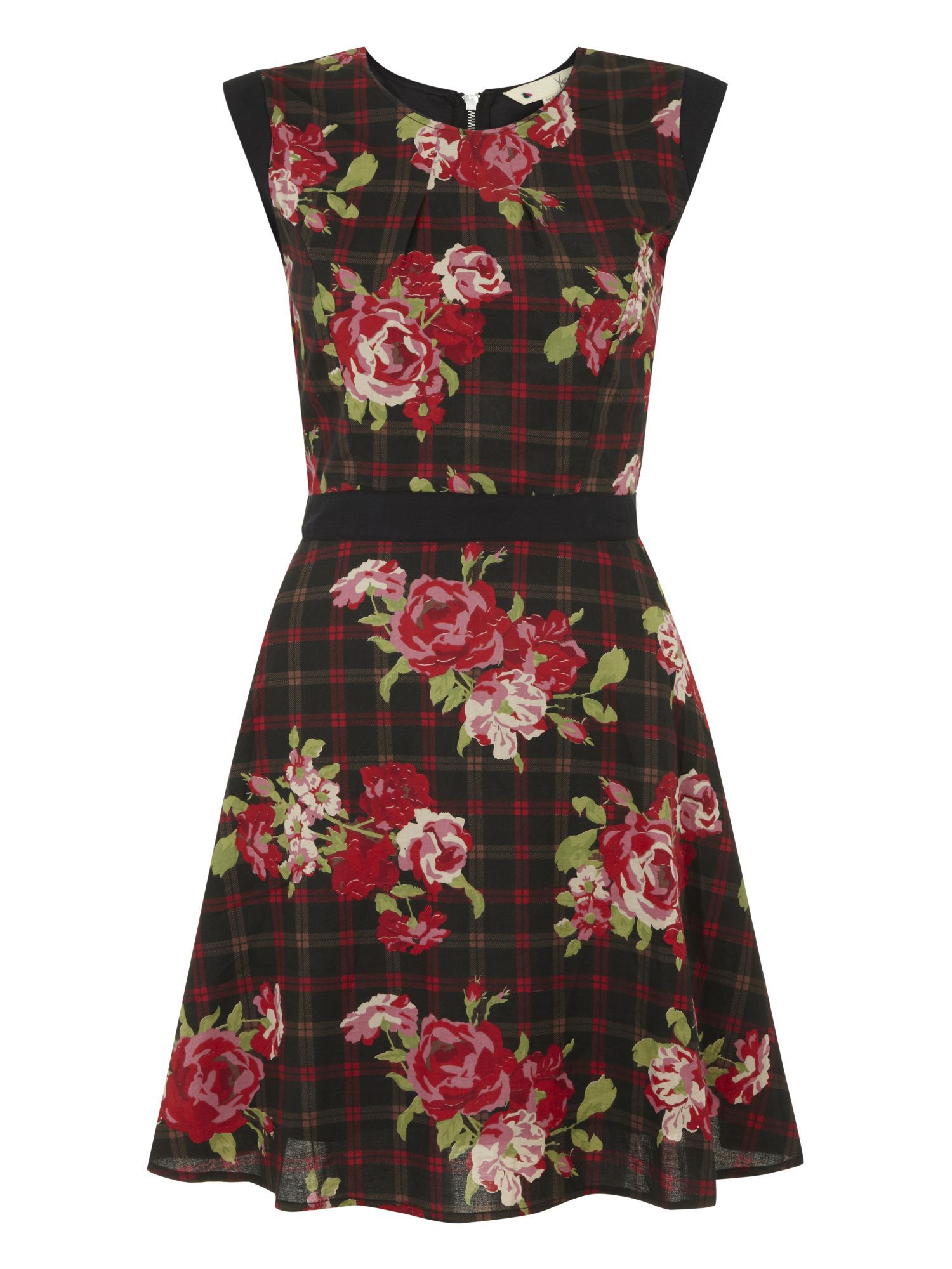 Checks and roses dress