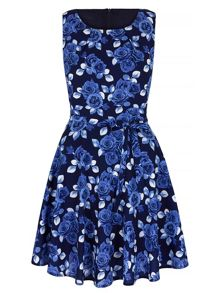 Mela London Blue Rose Print Occasion Dress