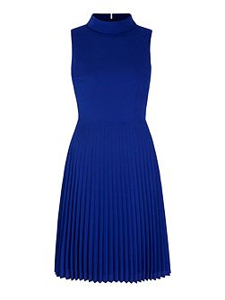 Pleated High Neck Midi Dress