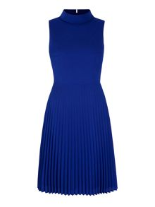 Yumi Pleated High Neck Midi Dress