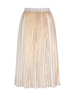 Yumi by Lilah Gold Stripe Print Pleated Midi