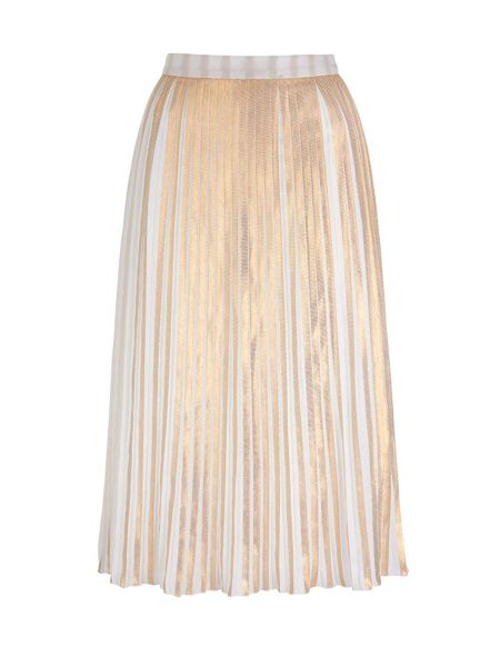 Yumi Yumi by Lilah Gold Stripe Print Pleated Midi Skir