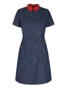 Yumi Yumi by Lilah Embroidered Collar Denim Dress