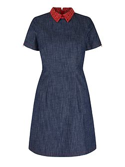 Yumi by Lilah Embroidered Collar Denim Dress