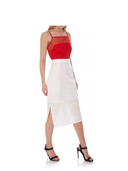 Yumi Broderie Anglaise Side Split Pencil Skirt