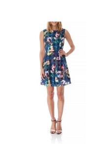 Yumi Floral Check Print Skater Dress