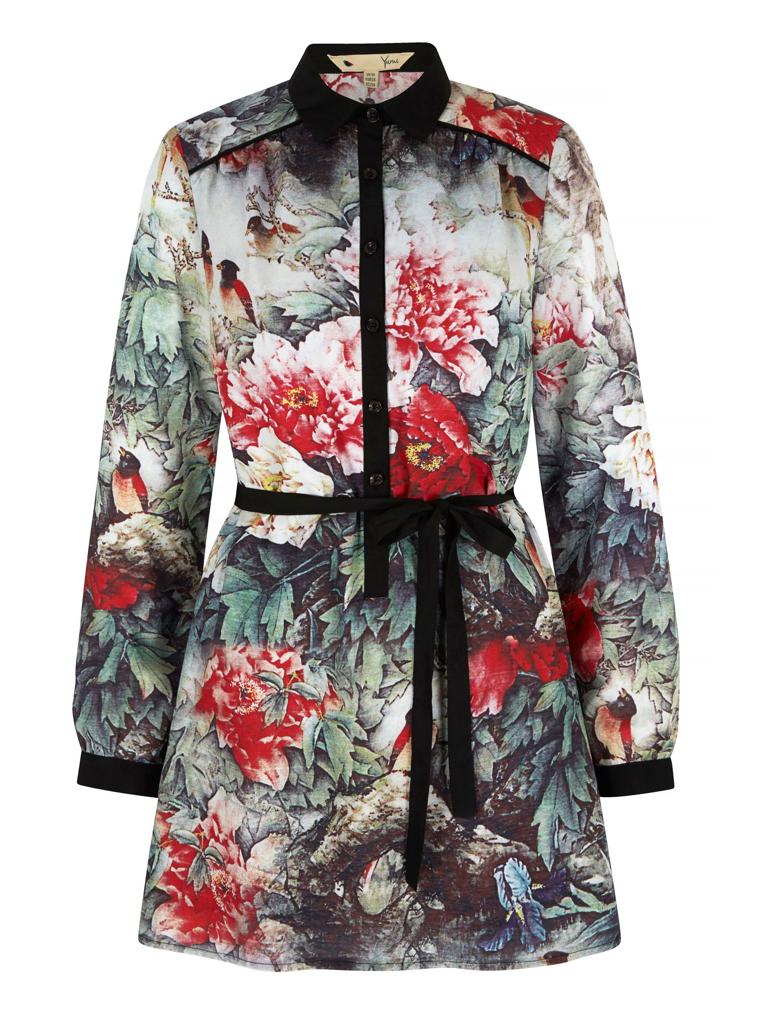 Yumi Bird and Floral Print Shirt Dress, Multi-Coloured