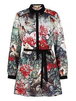 Bird and Floral Print Shirt Dress