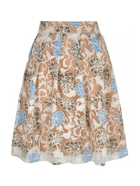 Yumi Floral Burnout Midi Skirt
