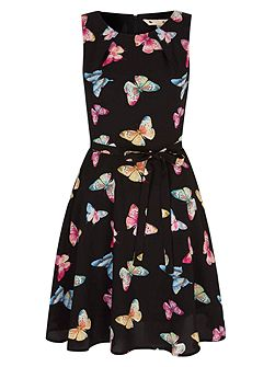 Butterfly Print Tie Skater Dress