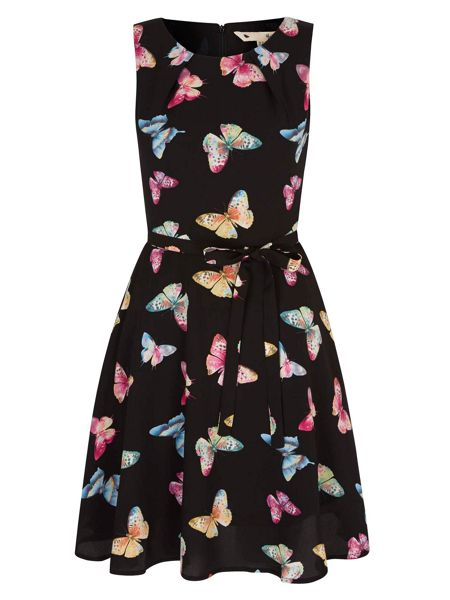 Yumi Butterfly Print Tie Skater Dress