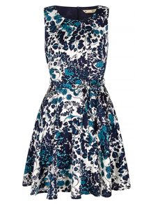 Yumi Teal Floral Print Dress
