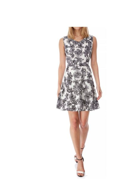 Yumi Monochrome Floral Print Skater Dress