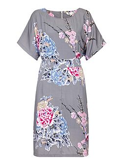 Oriental Floral and Bird Print Dress