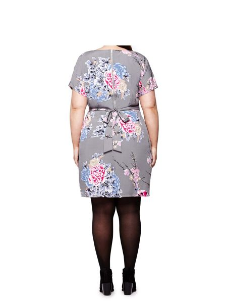 Yumi Curves Oriental Floral and Bird Print Dress
