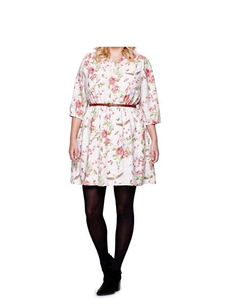 Yumi Curves Yumi Curves Floral Print Belt Dress